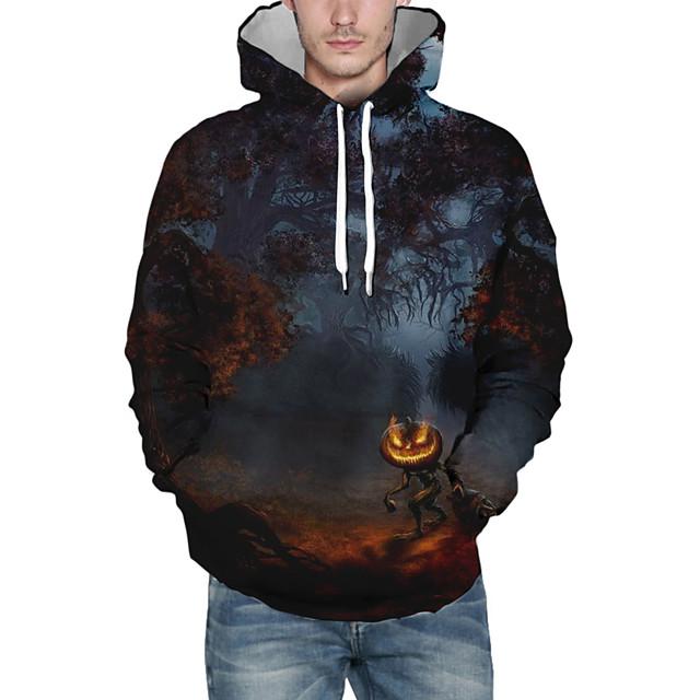 Voor heren Halloween Sweatshirt met capuchon Grafisch Capuchon Informeel Halloween Hoodies Sweatshirts Zwart
