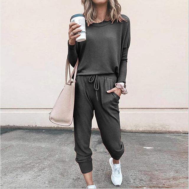 Per donna Tinta unica Da tutti i giorni Interni Set due pezzi Tuta da ginnastica maglietta Pantalone loungewear Pantaloni da jogger Collage Top