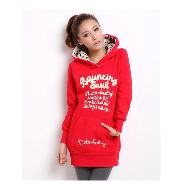 Dames Sweatshirt met capuchon Grafisch Tekst Letter Dagelijks Informeel Hoodies Sweatshirts Ruimvallend Zwart Rood