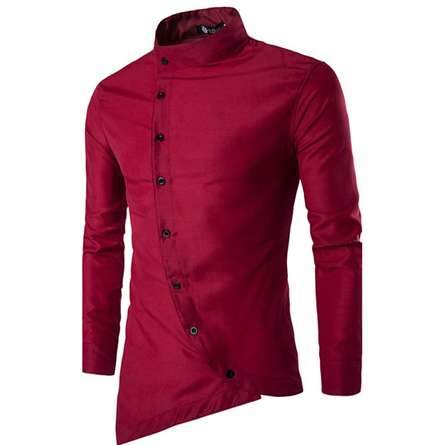 Men's Shirt Solid Colored Basic Long Sleeve Daily Tops Chinoiserie White Black Red