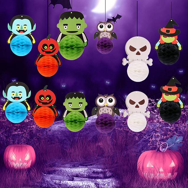 Halloween Party speelgoed hanger Papieren pom poms Halloween banner 12 pcs Skull Skeleton Pompoen Cartoon Spinnen Vleermuis DHZ Papier Kinderen Volwassenen Trick or Treat Halloween-feestartikelen