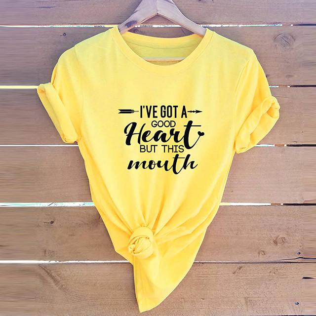 Dames Blouse Overhemd Letter Ronde hals Tops 100% katoen Basic Basis Top Wit Geel Oranje