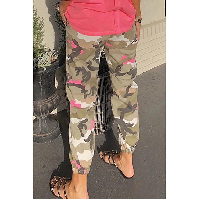 Women's Basic Quick Dry Loose Daily Capri shorts Pants Camouflage Ankle-Length Rainbow