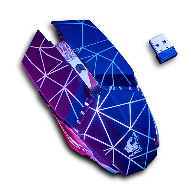 Free wolf x11 souris de jeu optique sans fil 2.4g souris rechargeable multi-couleurs respiration rétro-éclairé 1600 dpi 3 niveaux de dpi réglables 6 touches pcs