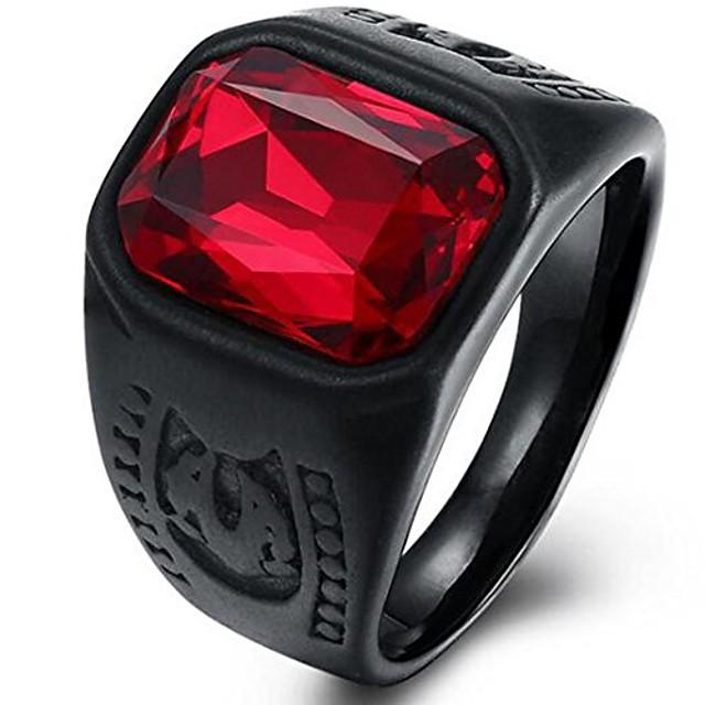zwarte roestvrijstalen rode kristallen zegelring voor motorrijders (zwart, 7,5)