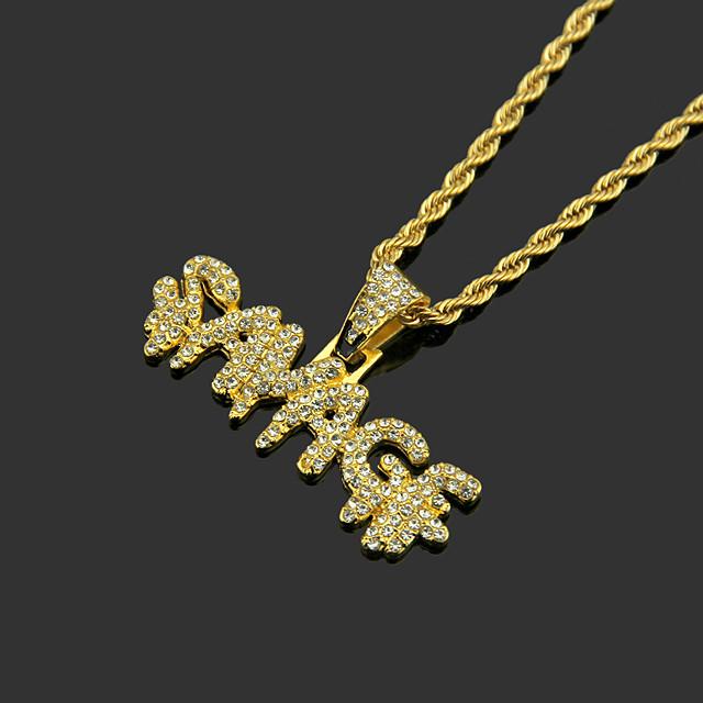 Herr Vit Kubisk Zirkoniumoxid Lockets Halsband Kubansk länk Bokstav Hiphop Legering Guld Silver 60 cm Halsband Smycken 1st Till Sport Street