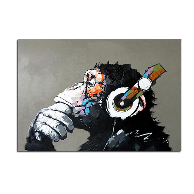 Peinture à l'huile Hang-peint Peint à la main Verticale Abstrait Animaux Contemporain Moderne Rideau (sans cadre)