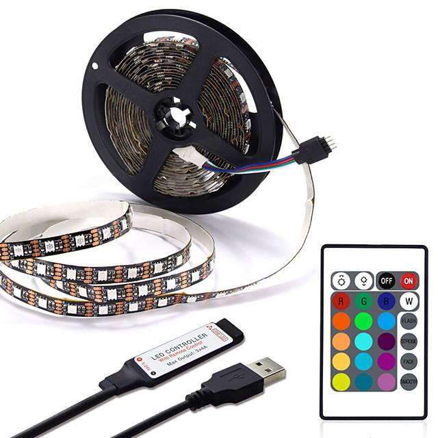 Usb led bande 1m 2m 3m 4m mini 24key flexible lumière lampe bureau décor écran tv fond éclairage