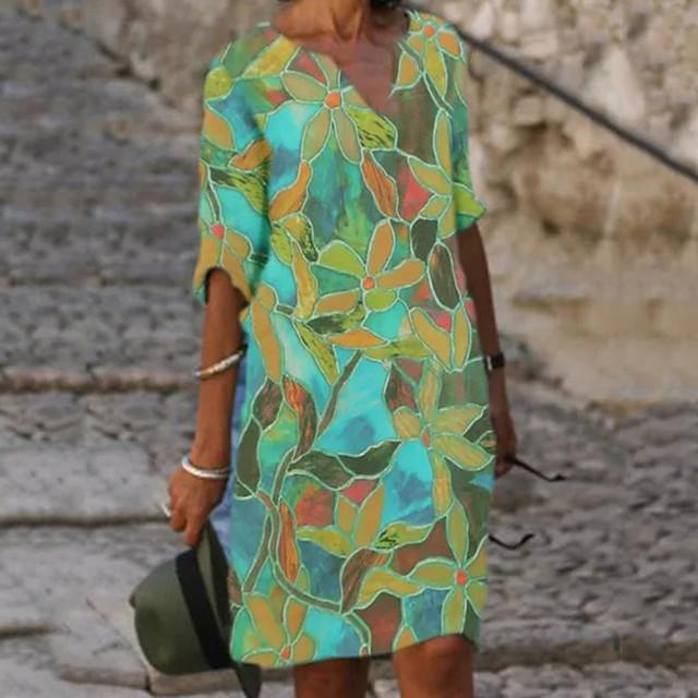 Dames Hemdjurk Knielengte jurk Halve mouw Bloemen Opdruk Zomer heet Elegant 2021 blauw M L XL XXL 3XL
