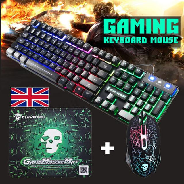 T6 clavier de souris filaire USB Clavier de jeu combiné Clavier multimédia 2400 dpi Gaming Souris de jeu lumineuse avec tapis de souris