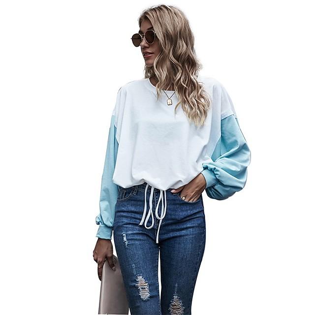 Dames Pullover Sweatshirt Kleurenblok Dagelijks Basic Hoodies Sweatshirts Ruimvallend Wit