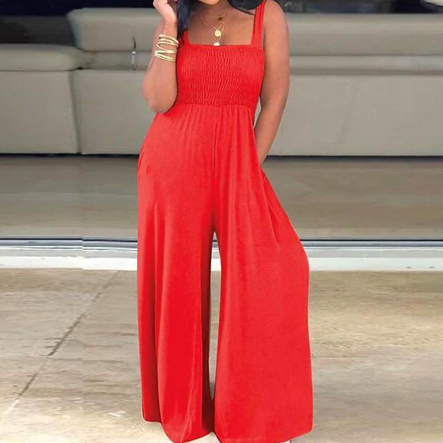 Dames Basic Zwart blauw Rood Jumpsuit Effen