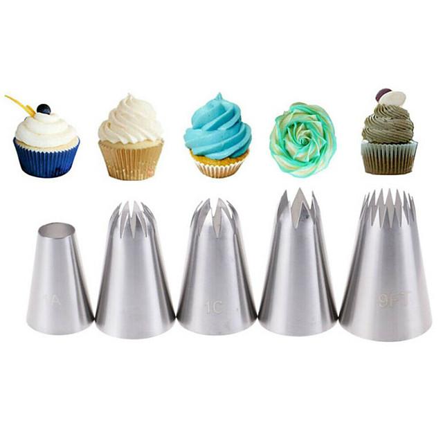 5 قطعة نصائح المعجنات تثليج الأنابيب فوهات الآيس كريم أداة الخبز العفن تزيين الكعكة