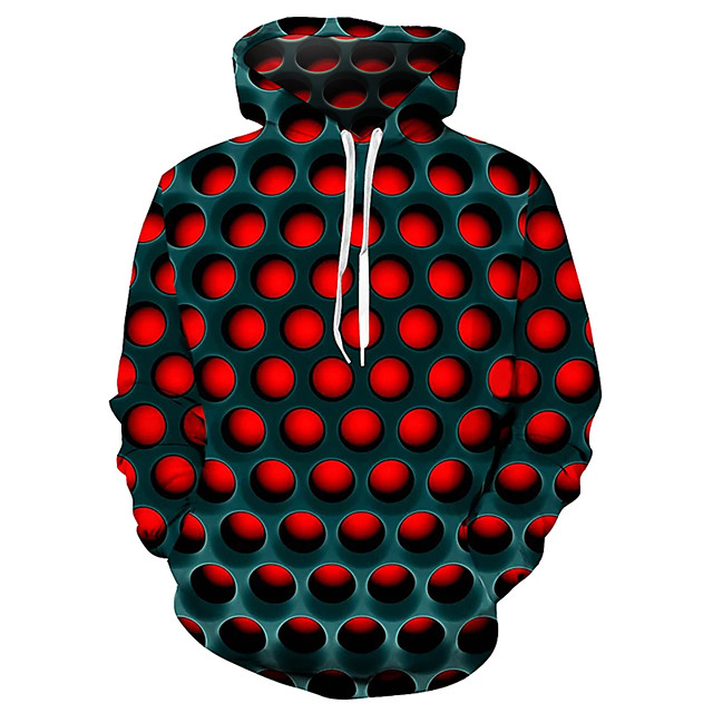 Voor heren Sweatshirt met capuchon Trui met capuchon Geometrisch 3D Straat Grote maten Basic Casual / Dagelijks Hoodies Sweatshirts Paars Rood Blauw