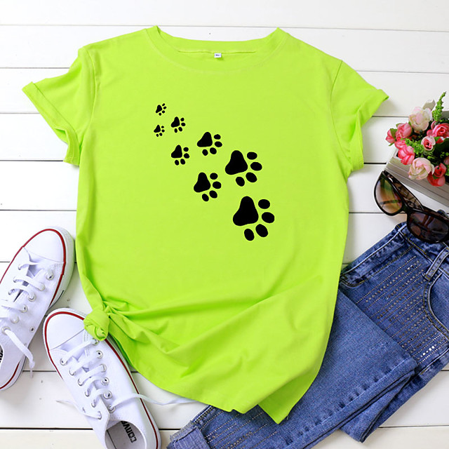 Women's T shirt Dog Print Round Neck Tops 100% Cotton Basic Basic Top White Black Yellow