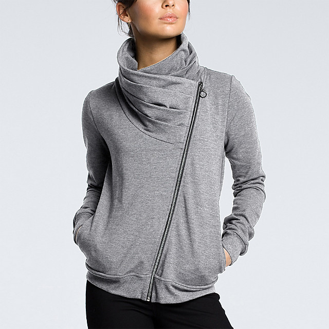 Dames Sweatshirt met rits Effen Vetoketju Dagelijks Informeel Hoodies Sweatshirts Wit Zwart Lichtgrijs