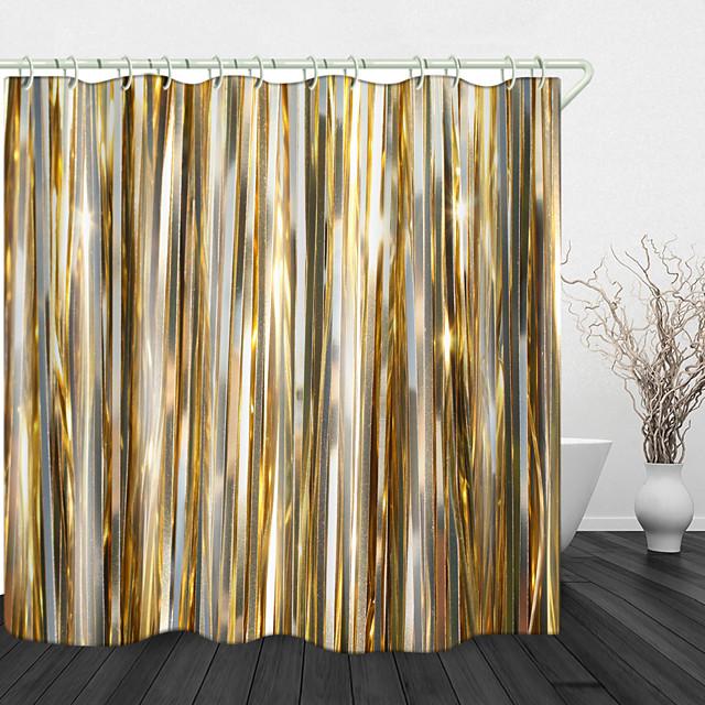 الشريط الذهبي الطباعة الرقمية النسيج للماء دش الستار للحمام ديكور المنزل مغطى ستائر حوض الاستحمام يشمل خطاف