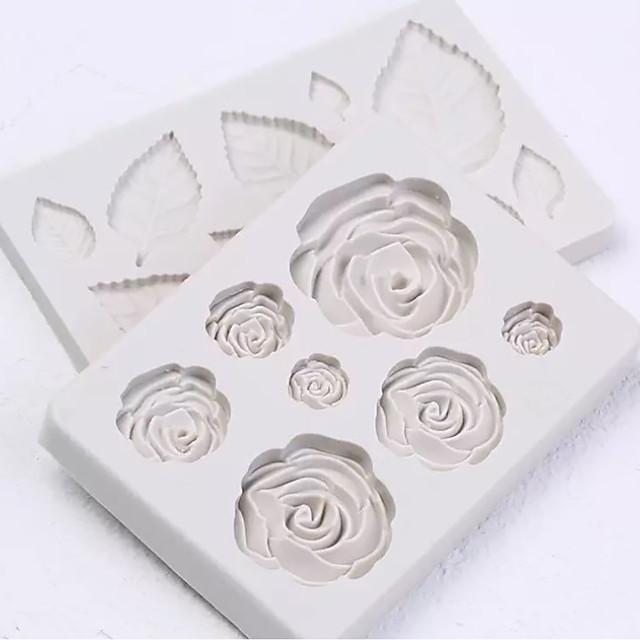 2 buc buchet de flori de trandafir set fondant silicon mucegai decorați prăjituri instrumente de coacere