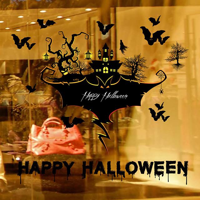 Halloween Party speelgoed Venster Sticker Muurstickers Halloween Window Clings Halloween muur stickers Pompoen Cartoon Vleermuis Spookhuis PVC Kinderen Volwassenen Trick or Treat