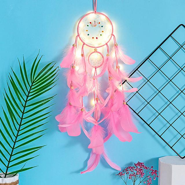 dreamcatcher carillon à vent led lampe plume fait main cadeau de noël dreamcatcher ornement maison noël saint valentin cadeau tenture murale décoration