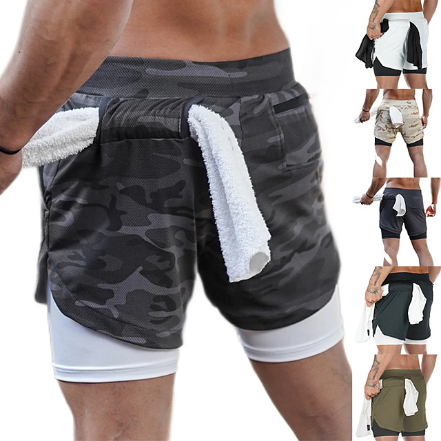 Men's 2 in 1 Running Shorts Athletic Bottoms Liner Towel Loop Fitness Gym Workout Running Jogging Trail Quick Dry Breathable Soft Sport Dark Grey White Black Khaki Army Green Gray / Stretchy