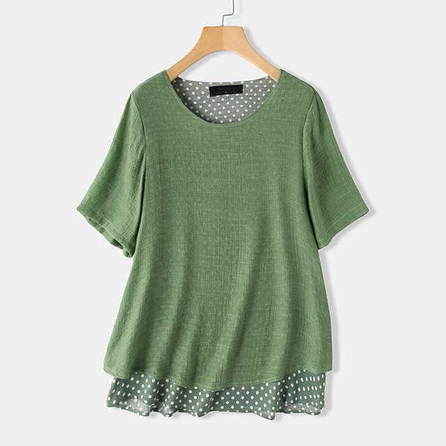 Dames T-shirt Polka dot Effen Ronde hals Tops Ruimvallend Basic Basis Top Klaver