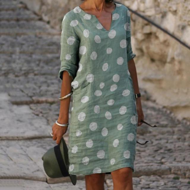 Women's Shift Dress Knee Length Dress Red Green Gray Light Blue 3/4 Length Sleeve Polka Dot Print Spring Summer V Neck Hot Casual vacation dresses 2021 S M L XL XXL 3XL 4XL 5XL