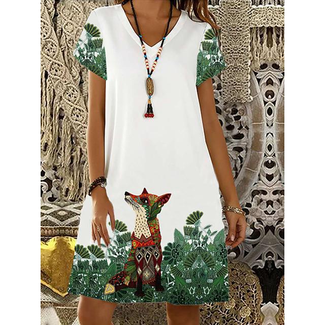 Жен. Платье прямого кроя Платье до колена Белый С короткими рукавами Животное С принтом Лето V-образный вырез горячий На каждый день 2021 S M L XL XXL 3XL