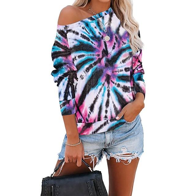 Dames Pullover Sweatshirt Tie Dye Dagelijks Basic Informeel Hoodies Sweatshirts Wit Zwart