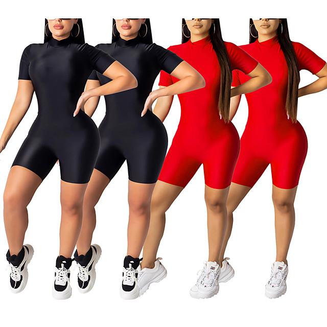 Dames Workout Jumpsuit Vetoketju Modieus Zwart Rood Synthetische zijde Yoga Fitness Gym training Bodysuit Korte mouw Sport Sportkleding Buikcontrole Butt Lift Ademend Sneldrogend Rekbaar