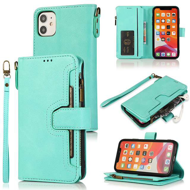 Case For iPhone 7 8 7 Plus 8 Plus X XS XR XS Max SE 11 11 Pro 11 Pro Max 12 Card Holder Flip Magnetic Full Body Cases Solid Colored PU Leather