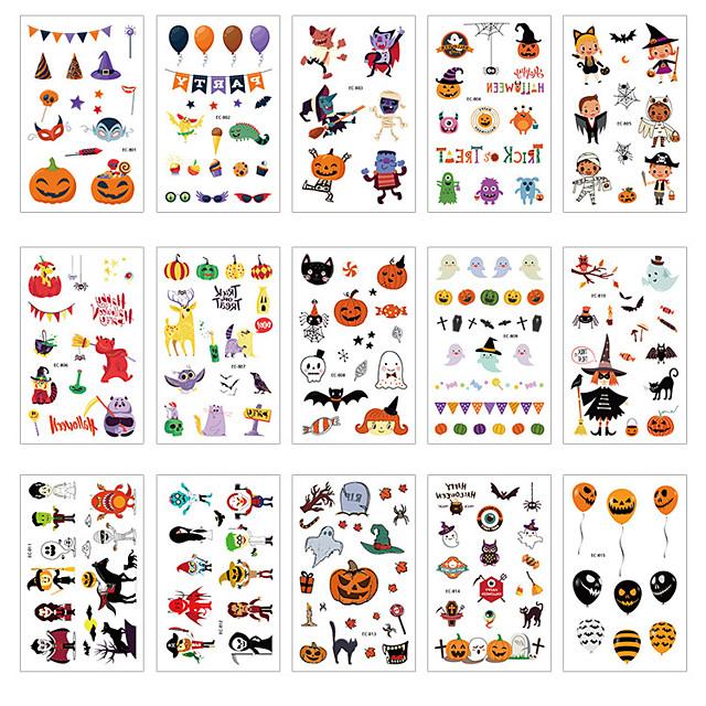 Halloween Party speelgoed Tatoeagestickers 25 pcs Cartoon Waterbestendig Papier Kinderen Volwassenen Trick or Treat Halloween-feestartikelen
