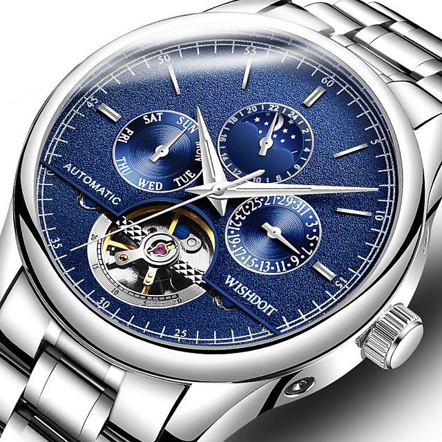 WISHDOIT สำหรับผู้ชาย วิศวกรรมนาฬิกา ไขลานอัตโนมัติ สไตล์สมัยใหม่ สไตล์ ไม่เป็นทางการ กันน้ำ ระบบอนาล็อก สีดำ+สีเงิน สีทอง+สีเงิน สีขาว + สีเงิน / สแตนเลส / หนัง / ปฏิทิน / noctilucent