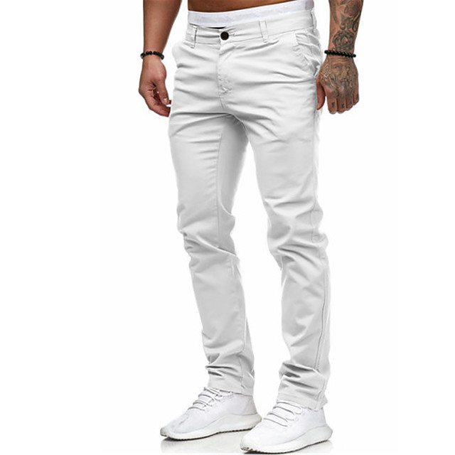 Men's Basic Outdoor Daily Chinos Pants Solid Colored Full Length White Black Red Yellow Blushing Pink