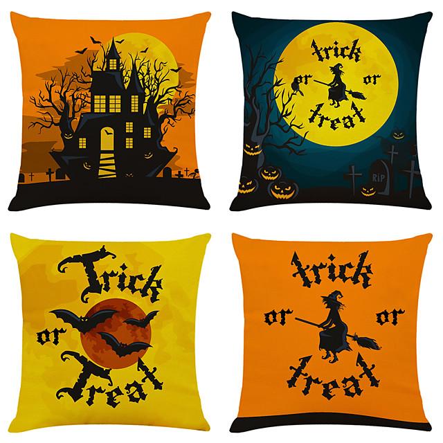 halloween party halloween decor horror ghost set van 4 halloween print linnen vierkante decoratieve sierkussen gevallen sofa kussenhoezen 18