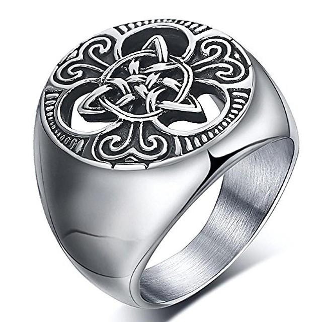 heren Keltische knoop zegelringen ronde vintage roestvrijstalen ring voor motorrijder maat 8