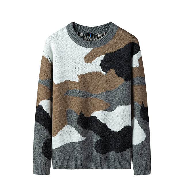 Voor heren Stijlvol Basic Oversized Gebreid Kleurenblok Camouflage Kleur Pullover Acryl Vezels Lange mouw Trui Cardigans Strakke ronde hals Herfst Winter Zwart Grijs