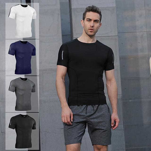 Voor heren Korte mouw Compressieshirt Hardloopshirt T-shirt Basislaag boven Kleding Bovenlichaam Sportief Sportkleding Reflecterend Lichtgewicht Ademend Fitness Gym training Uitvoering Hardlopen
