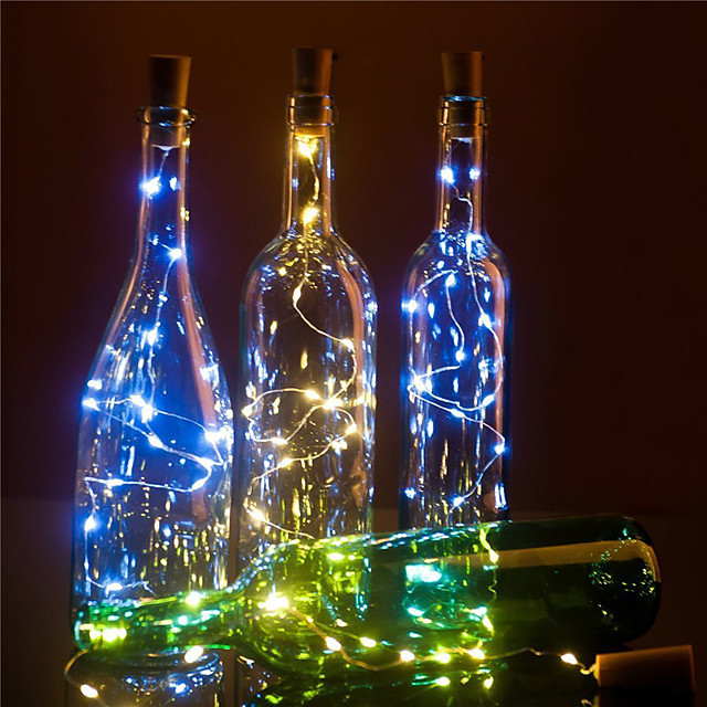 led φώτα κρασιού φελλό σε σχήμα διακόσμηση 2m 20 led 10pcs 8pcs 4pcs 1pc πολύχρωμο νεράιδα κορδόνι για χριστουγεννιάτικο πάρτι χωρίς μπαταρία