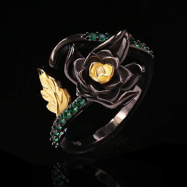 Ring Zirkonia twee stenen Zwart Messinki Bloem Elegant Vintage 1pc 6 8 10 / Dames