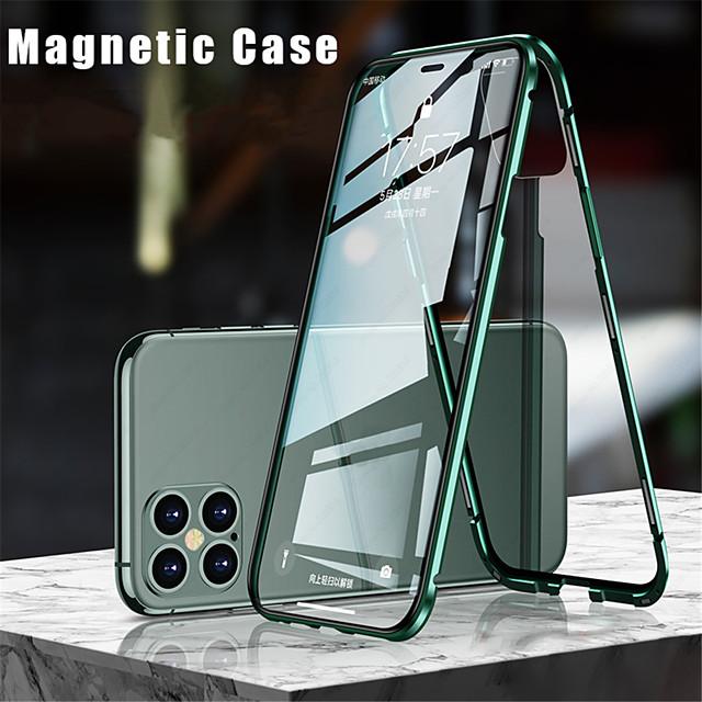 telefono Custodia Per Apple Integrale iPhone 12 Pro Max 11 SE 2020 X XR XS Max 8 7 Con chiusura magnetica A calamita Doppia setola Tinta unita Vetro temperato Metallo