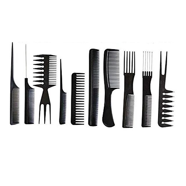 10 stks zwarte professionele haar borstel kam salon kapper antistatische kammen haarborstel kappers kammen haarverzorging styling tools (zwart)