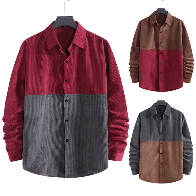 Voor heren Overhemd niet-afdrukken Kleurenblok Grote maten Patchwork Lange mouw Dagelijks Tops Corduroy Elegant Vintage blauw Rood Bruin