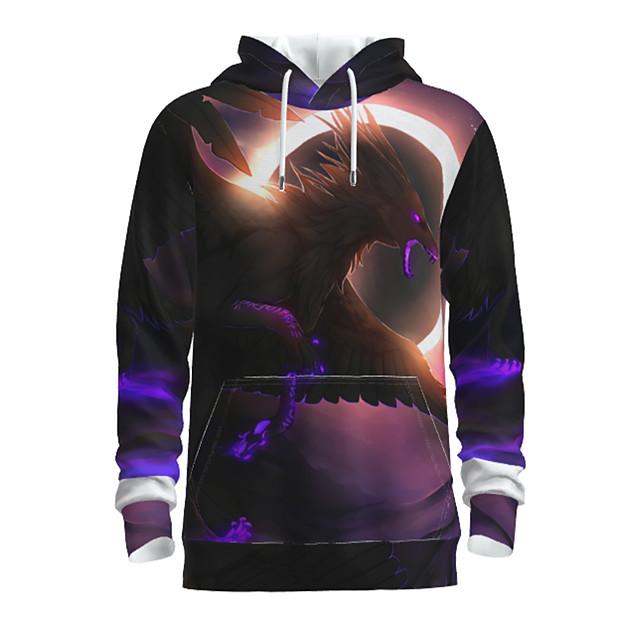 Voor heren Dagelijks Sweatshirt met capuchon Grafisch dier Capuchon Basic Hoodies Sweatshirts Lange mouw Zwart