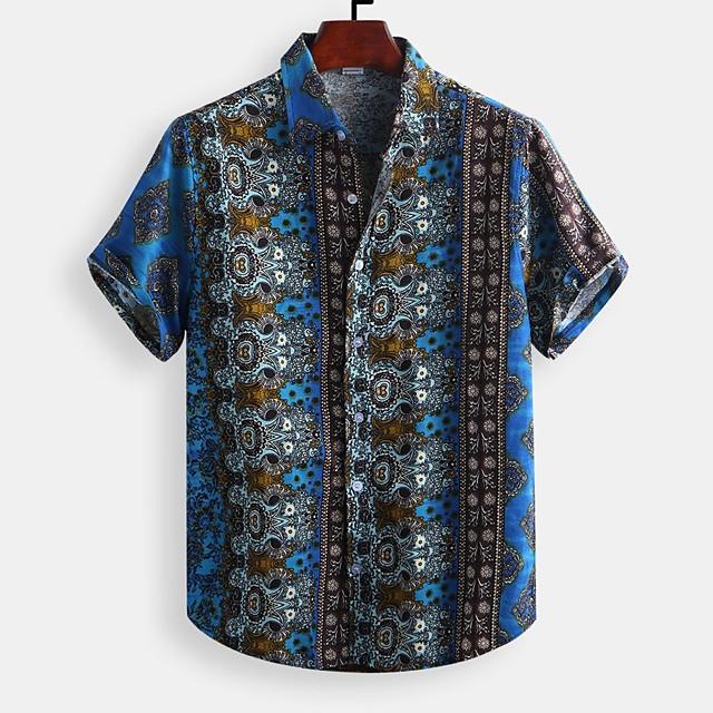 Men's Shirt Other Prints Graphic Print Short Sleeve Daily Tops Basic Blue Yellow Orange