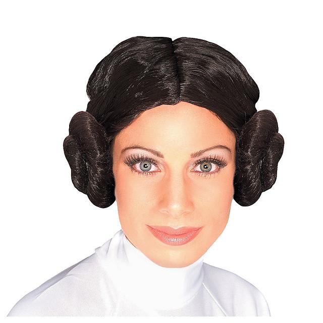 Kostuum pruiken Leia Gekruld gevlochten Middelste stuk Pruik Kort Zwart Synthetisch haar Dames Cosplay voortreffelijk Zwart