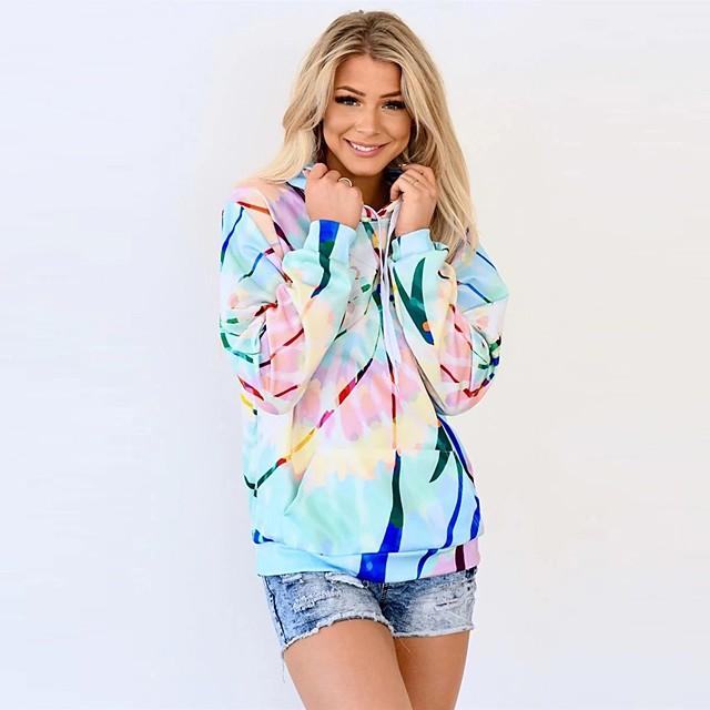 Dames Sweatshirt met capuchon Regenboog Dagelijks Andere prints Informeel Hoodies Sweatshirts Ruimvallend Lang Licht Blauw
