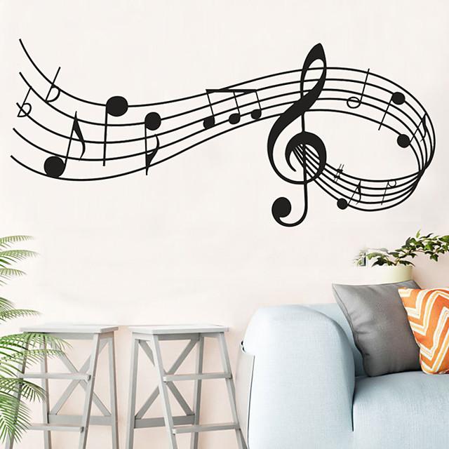 Sticker mural décor notes de musique mélodie mur chambre bureau noël musical mur porte fenêtre chambre décor maison décoration 24 * 58 cm