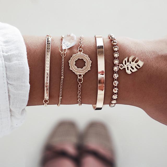 Bracelet d'amitié Femme Multirang Forme de Feuille Elégant Bracelet Bijoux Dorée pour Soirée Cadeau Rendez-vous Anniversaire Festival
