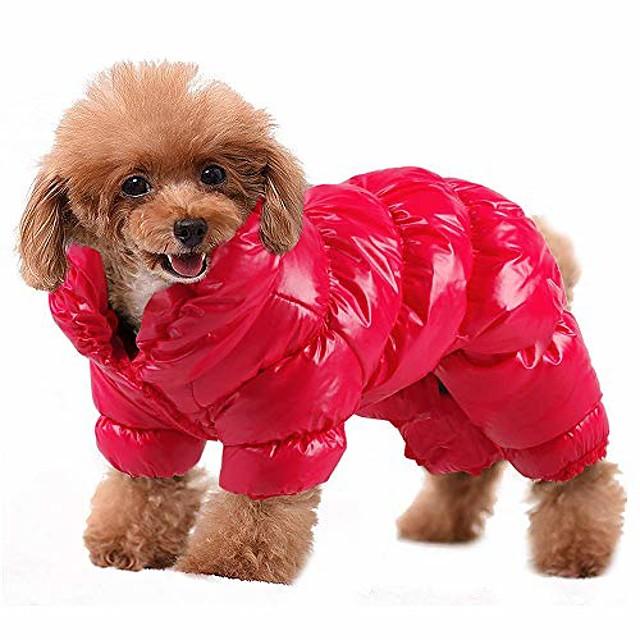 winter hondenjas waterdicht winddicht hond snowsuit warm fleece gewatteerde winter huisdier kleding voor chihuahua poedels franse bulldog pommeren kleine honden (rood)